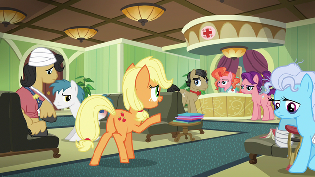 File:Applejack greets Filthy and Spoiled in the waiting room S6E23.png