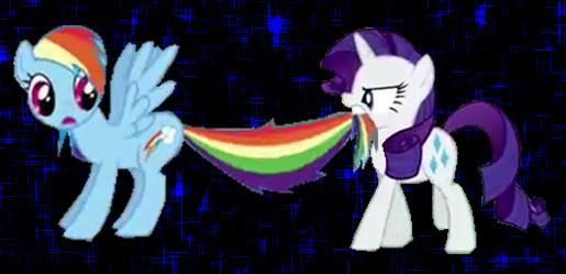 File:FANMADE Rarity bites Rainbow's tail.jpg