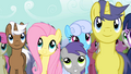 Fluttershy listening to AJ's speech S2E14.png