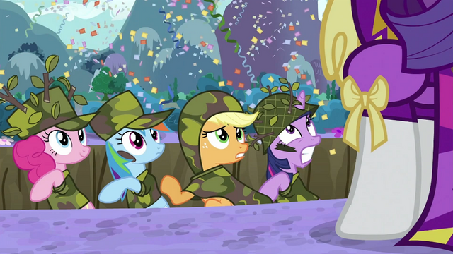 File:Pinkie Pie Applejack Rainbow Twilight in trench looking at Rarity S2E21.png