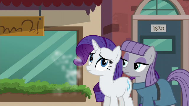 File:Maud and Rarity standing together while Pinkie runs off S6E3.png