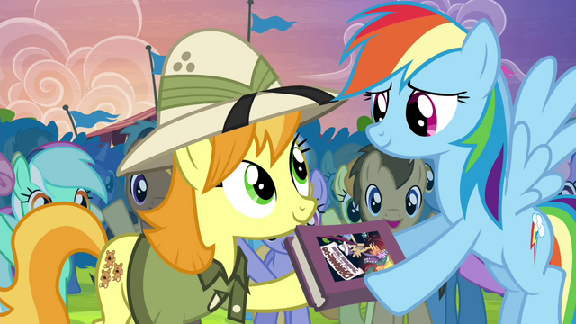 File:Rainbow returns the Daring Do first edition S4E22.png