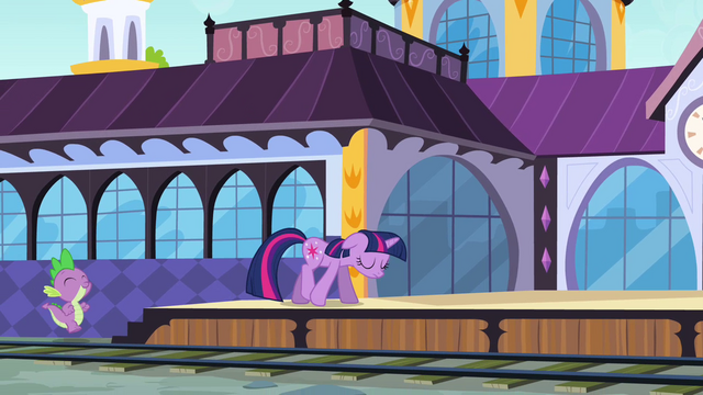 File:Twilight and Spike going to the train station S3E01.png