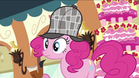 Pinkie Pie talking about the mystery S2E24
