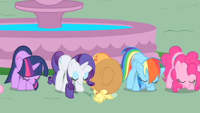 File:Twilight and friends bow to Celestia S01E22.png