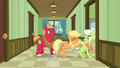 Applejack pushes Granny Smith into a hospital room S6E23.png