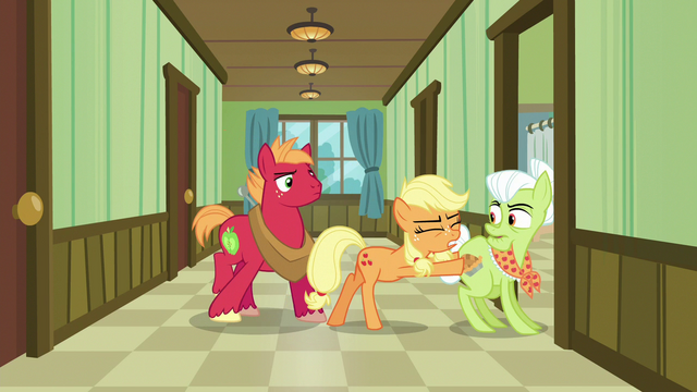 File:Applejack pushes Granny Smith into a hospital room S6E23.png