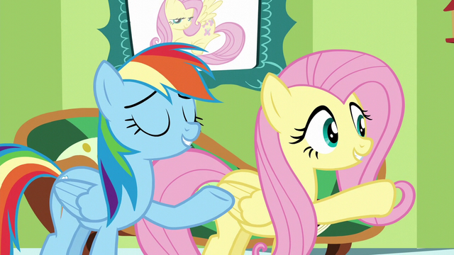 "File:Fluttershy and Rainbow ""you can pass the test"" S6E11.png"