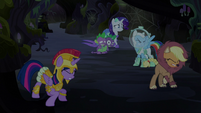 Main cast flinch as Pinkie crashes off-screen S5E21