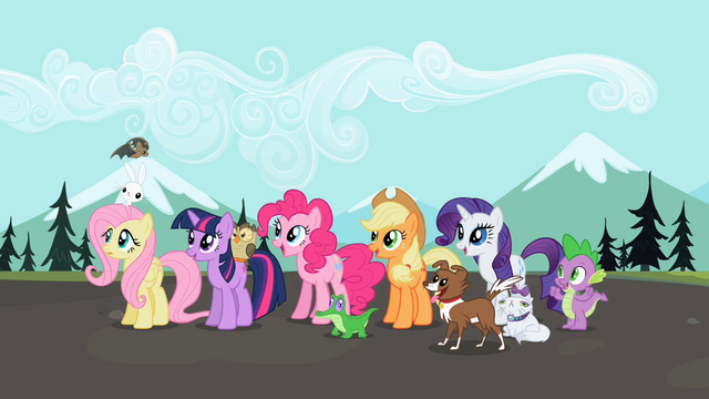 File:Ponies excited awaiting Rainbow's return S2E7.png