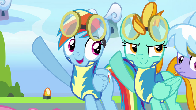 File:Rainbow and Lightning putting their hooves up S3E07.png