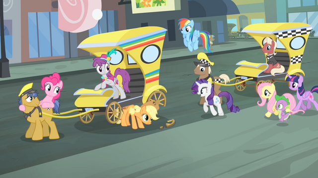 File:Rarity and friends walking towards the cab S4E08.png