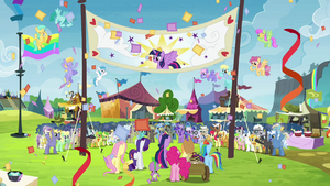 The ponies celebrating Twilight's arrival S4E22.png