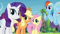 Twilight's friends smiling S4E18