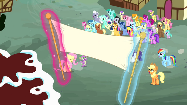 File:Birthday banner being raised S4E12.png