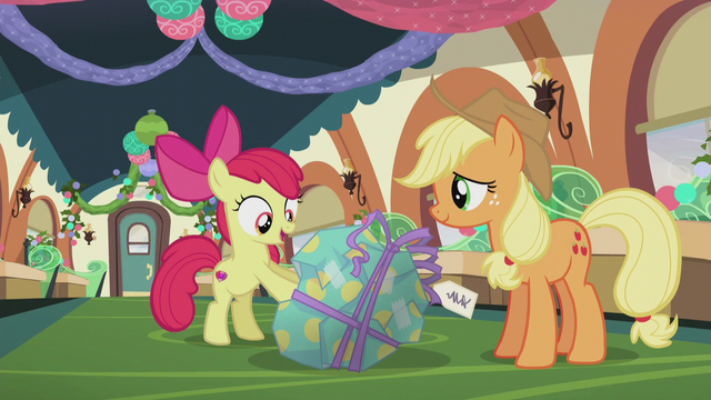 "File:Apple Bloom ""your first Pie Hearth's Warmin' present ever!"" S5E20.png"