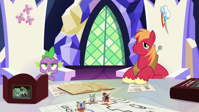 File:Spike and Big Mac staring unamused at Discord S6E17.png