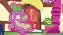 Twilight drags Spike along with magic S6E22