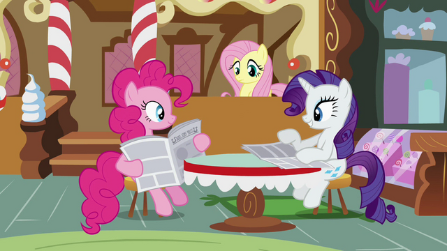 File:Pinkie Pie and Rarity reading newspapers S02E23.png