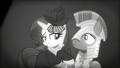 Rarity smiling at the guard S5E15.png