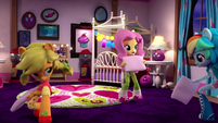 AJ, Fluttershy, and Rainbow having a pillow fight EGM4