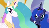 Celestia and Luna smiling at Twilight S4E02