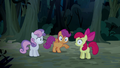 Cutie Mark Crusaders hear Sheriff Silverstar S5E6.png