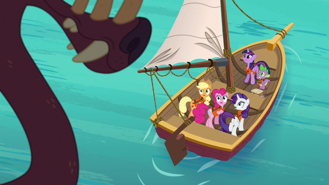 File:Ponies and Spike look up at the bunyip S6E22.png