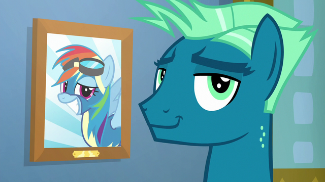 File:Sky Stinger smirking beside Rainbow's picture S6E24.png