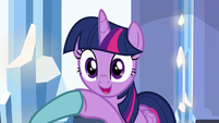 Twilight Sparkle shaking Crystal Hoof's hoof S6E16