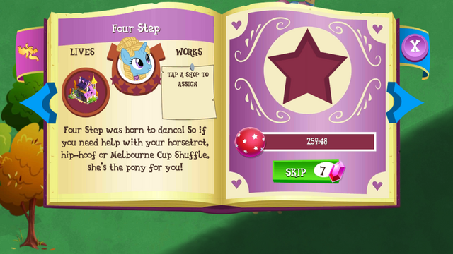 File:Four Step album page MLP mobile game.png