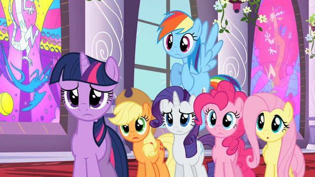 File:Main ponies listening to Celestia S02E01.png