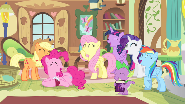 File:Ponies and Spike laughing S4E07.png