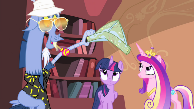 File:Discord about to put map shaped like a hat on Twilight S4E11.png