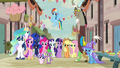 Mane Six, Spike, Trixie, Discord, and royalty in Our Town S6E26.png