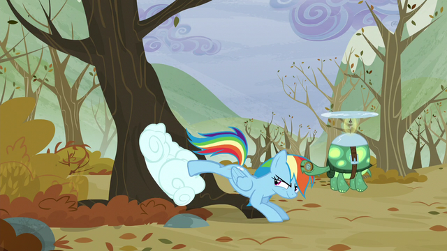 File:Rainbow pushes the cloud into the tree with her back legs S5E5.png