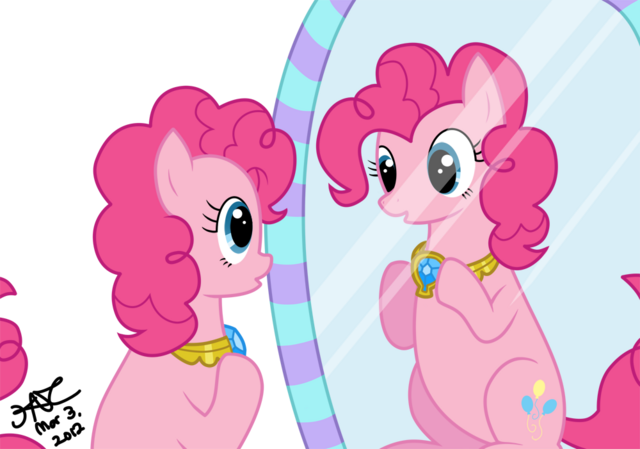 File:FANMADE Pinkie Pie looking at the mirror.png