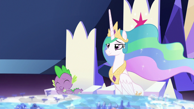 File:Spike laughing at Celestia's teasing S7E1.png
