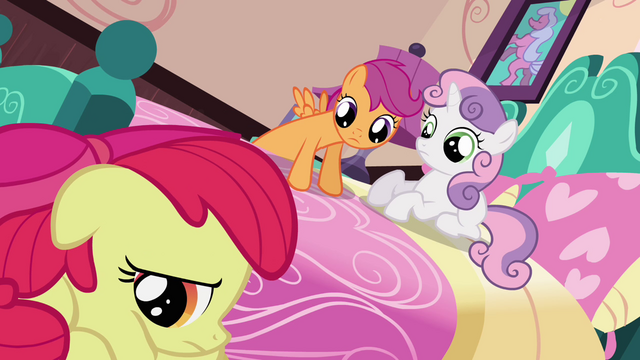 File:Sweetie Belle and Scootaloo looking at Apple Bloom S3E4.png