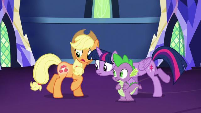 File:Twilight looks at Applejack's cutie mark S5E16.png