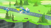 Rainbow and Wonderbolts fly toward the ground S6E7