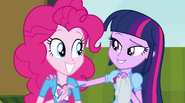 Twilight and Pinkie smile at each other EG2