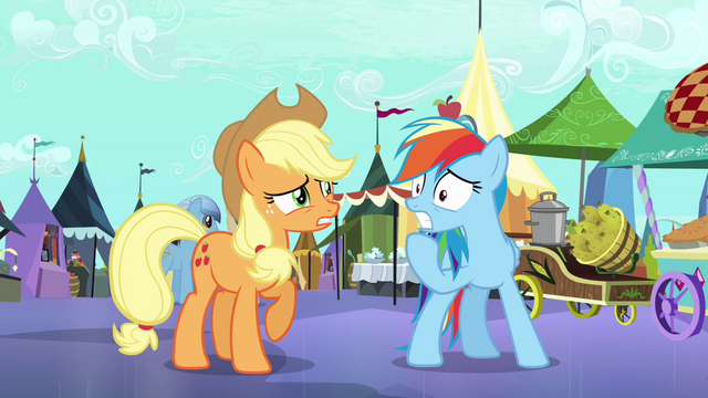 File:Applejack and Rainbow Dash worried S3E01.png