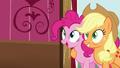 Pinkie and Applejack backs up S5E11.png