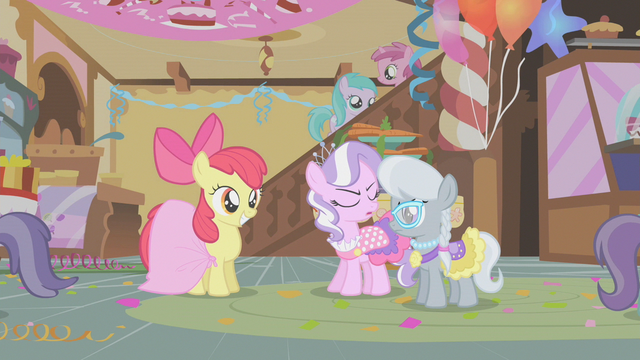 File:Apple Bloom smiling at Diamond Tiara and Silver Spoon S1E12.png