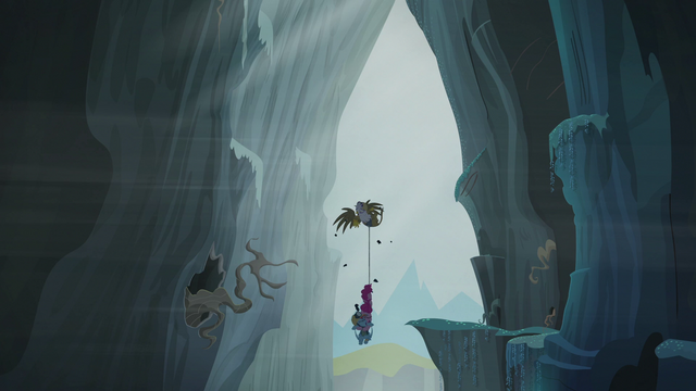 File:Gilda, Pinkie, and Rainbow falling into the Abyss S5E8.png