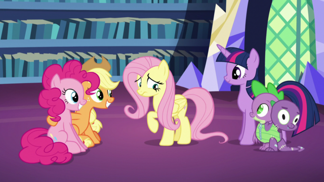 File:Pinkie and AJ still smiling; Fluttershy still a little uncomfortable S5E21.png