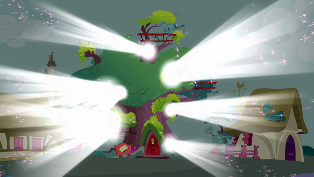 File:Ponyville library covered in light S03E13.png