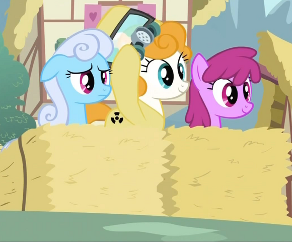 File:Shoeshine, Berryshine and a pony in a radiation suit S2E6.png