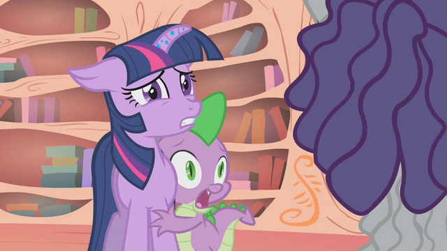 File:Twilight and Spike shocked at Hairity's appearance S1E09.png